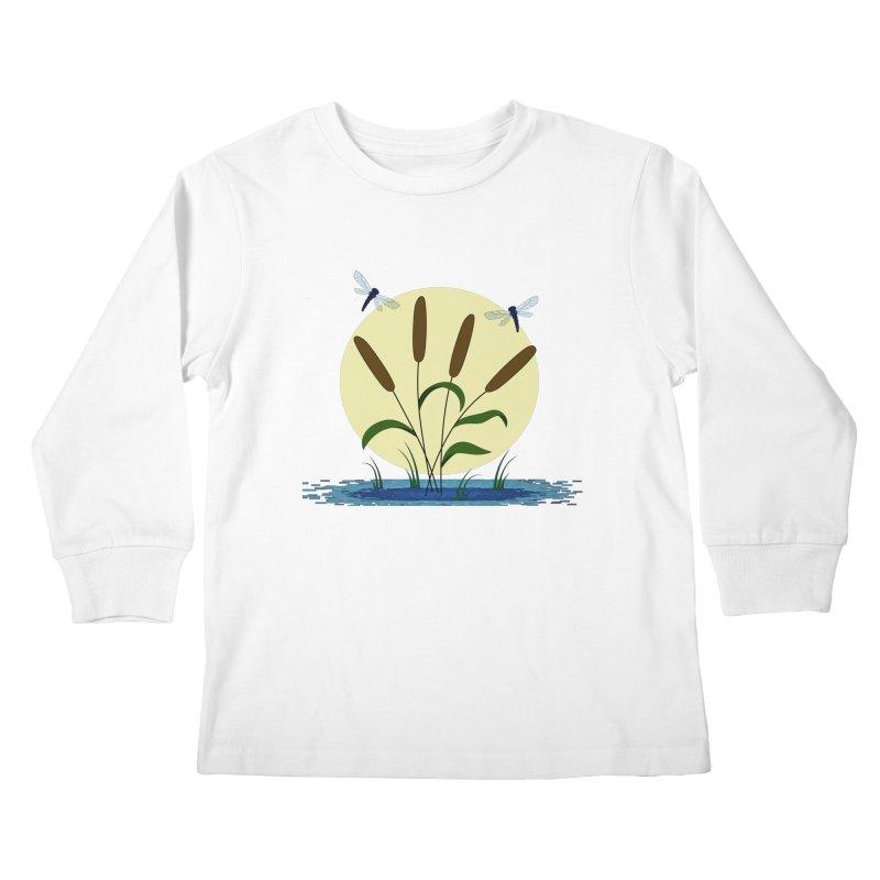 Cattails and Dragonflies Kids Longsleeve T-Shirt by LadyBaigStudio's Artist Shop