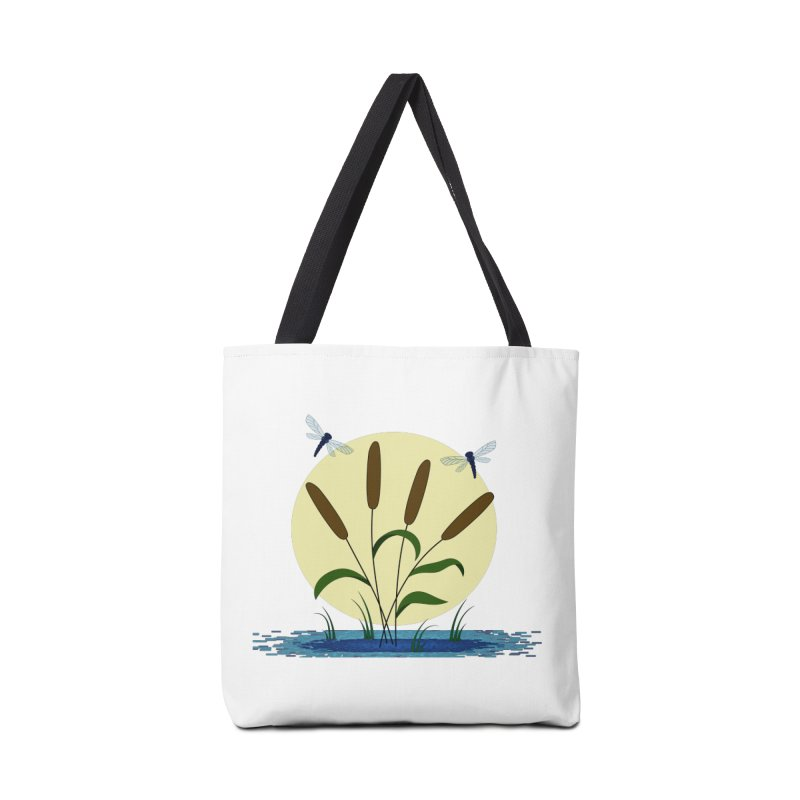 Cattails and Dragonflies Accessories Tote Bag Bag by LadyBaigStudio's Artist Shop