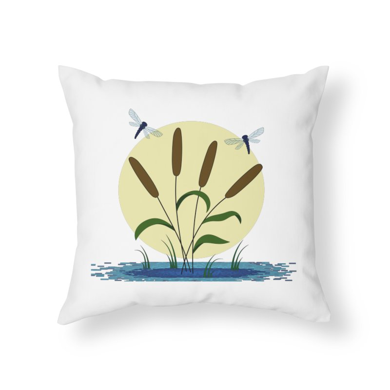 Cattails and Dragonflies Home Throw Pillow by LadyBaigStudio's Artist Shop