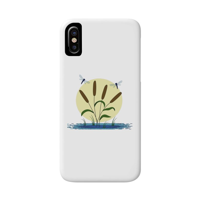 Cattails and Dragonflies Accessories Phone Case by LadyBaigStudio's Artist Shop