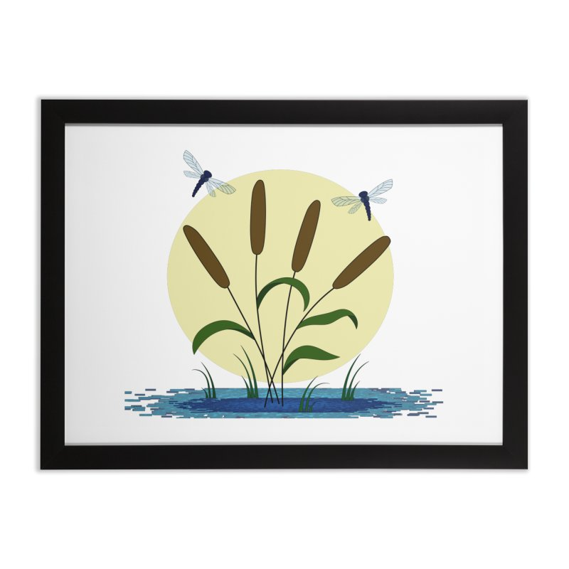 Cattails and Dragonflies Home Framed Fine Art Print by LadyBaigStudio's Artist Shop