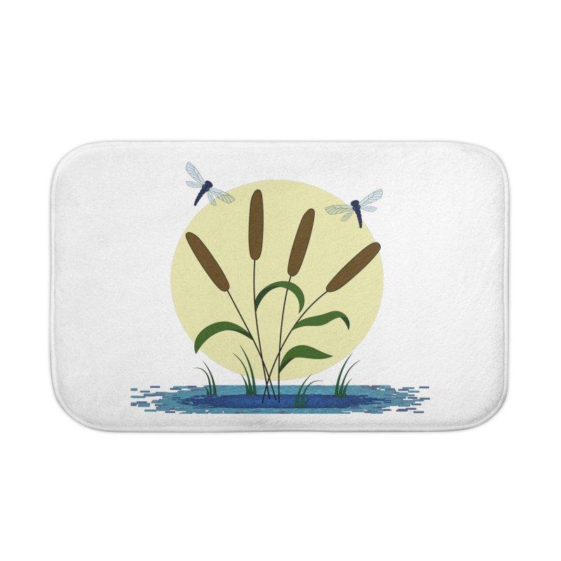 Cattails and Dragonflies Home Bath Mat by LadyBaigStudio's Artist Shop