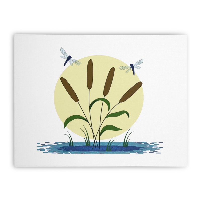 Cattails and Dragonflies Home Stretched Canvas by LadyBaigStudio's Artist Shop
