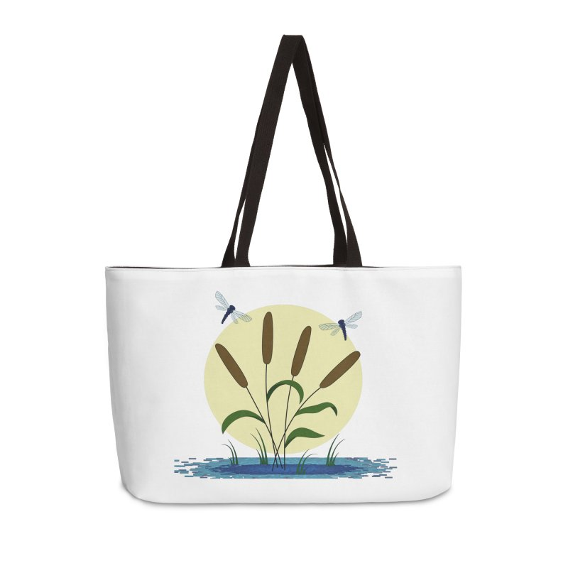 Cattails and Dragonflies Accessories Weekender Bag Bag by LadyBaigStudio's Artist Shop
