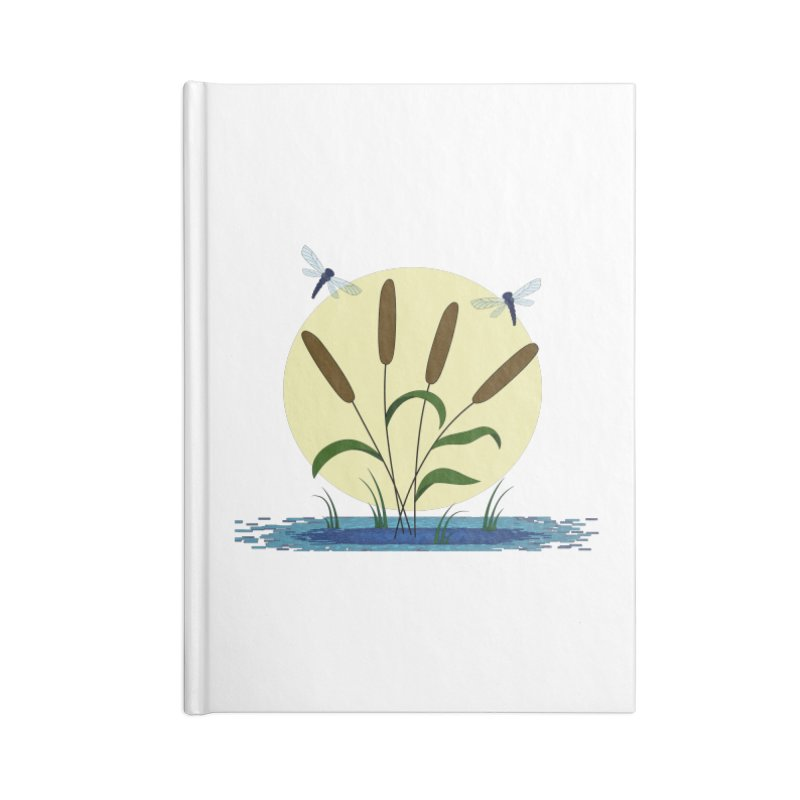 Cattails and Dragonflies Accessories Lined Journal Notebook by LadyBaigStudio's Artist Shop