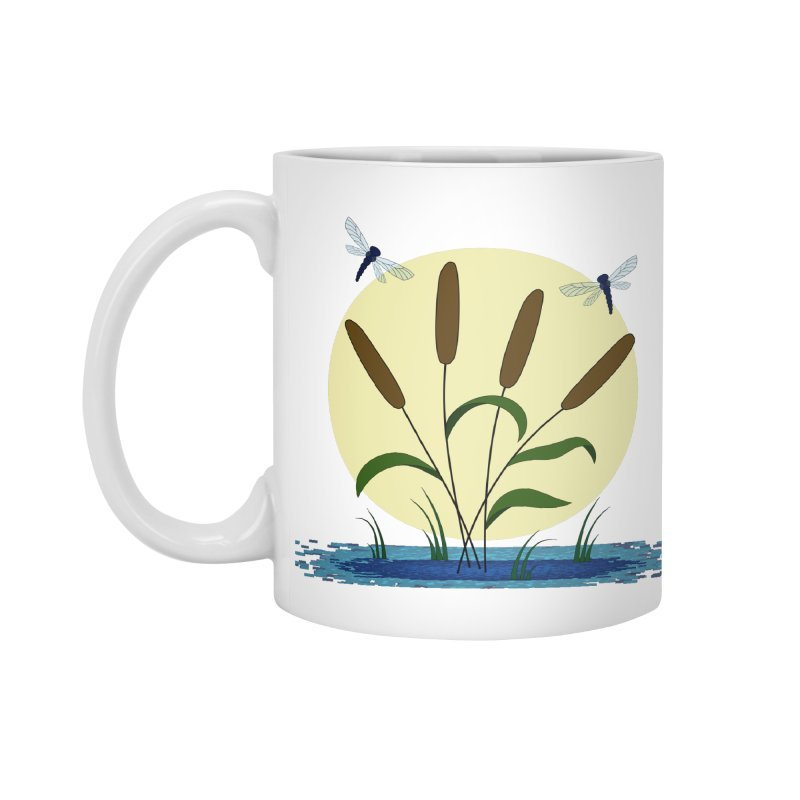 Cattails and Dragonflies Accessories Standard Mug by LadyBaigStudio's Artist Shop