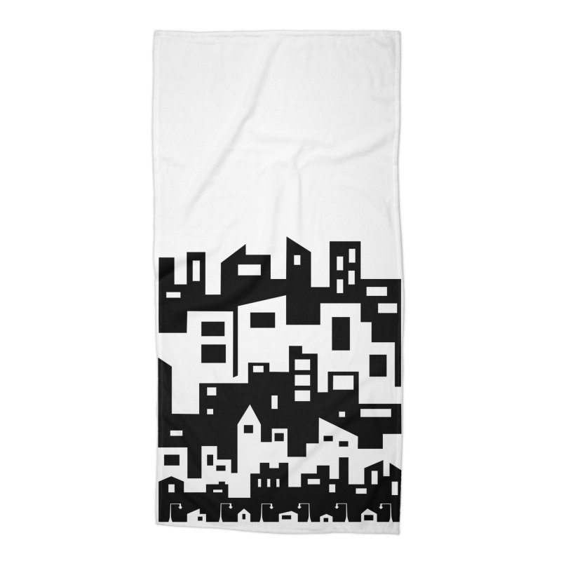 Stacked Cityscape Accessories Beach Towel by LadyBaigStudio's Artist Shop