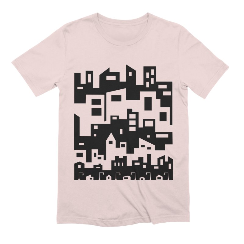 Stacked Cityscape Men's Extra Soft T-Shirt by LadyBaigStudio's Artist Shop
