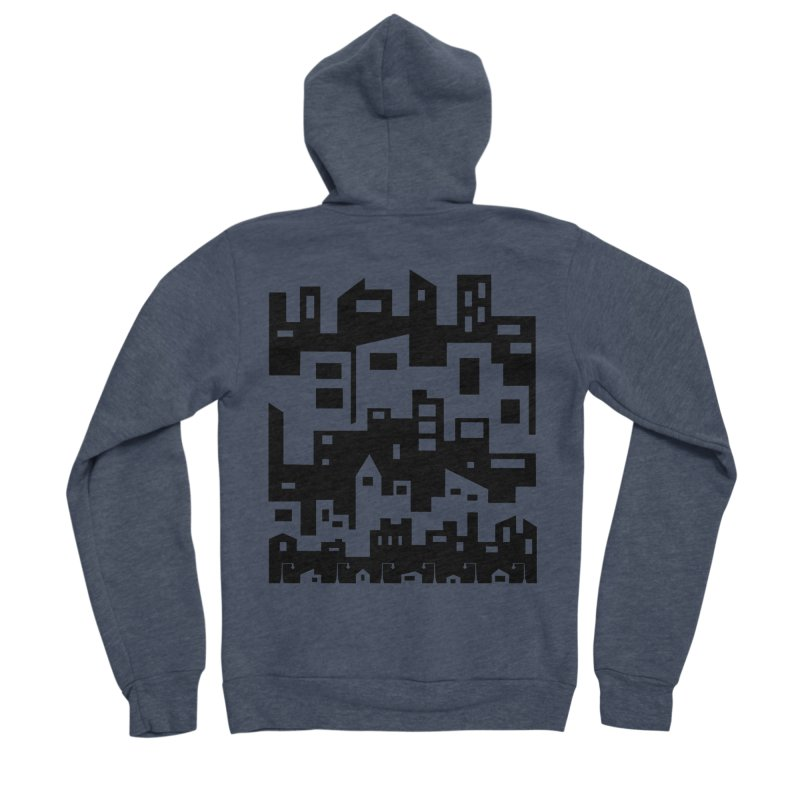 Stacked Cityscape Men's Sponge Fleece Zip-Up Hoody by LadyBaigStudio's Artist Shop