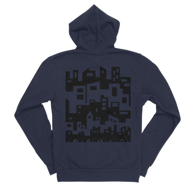Stacked Cityscape Women's Sponge Fleece Zip-Up Hoody by LadyBaigStudio's Artist Shop