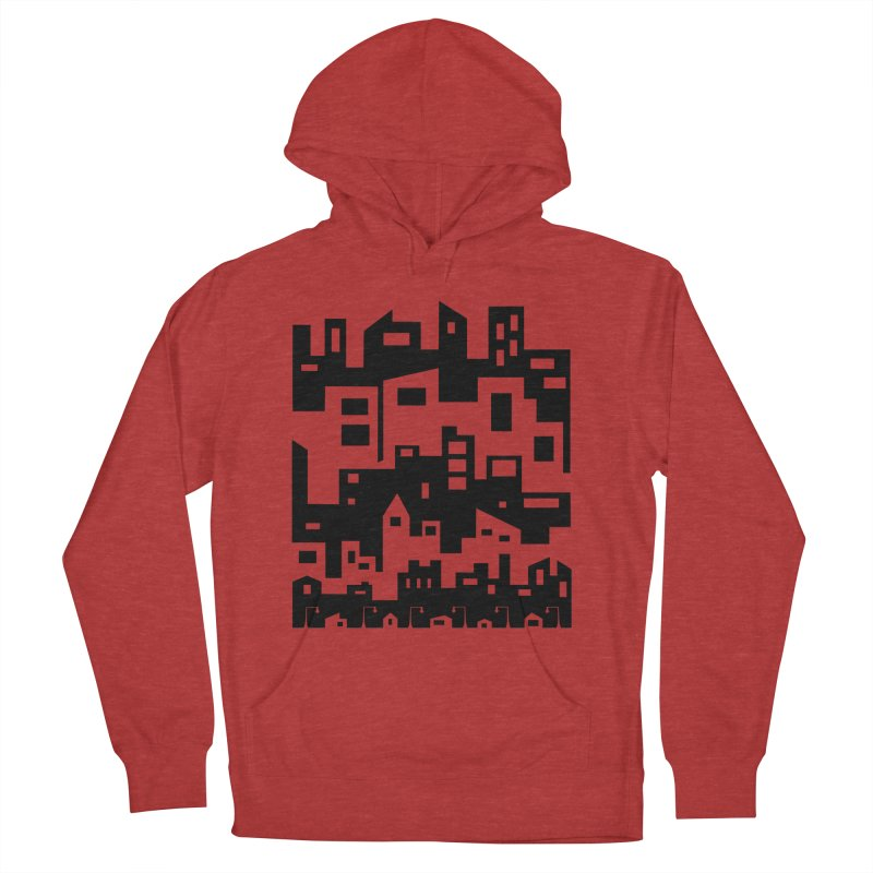 Stacked Cityscape Men's French Terry Pullover Hoody by LadyBaigStudio's Artist Shop