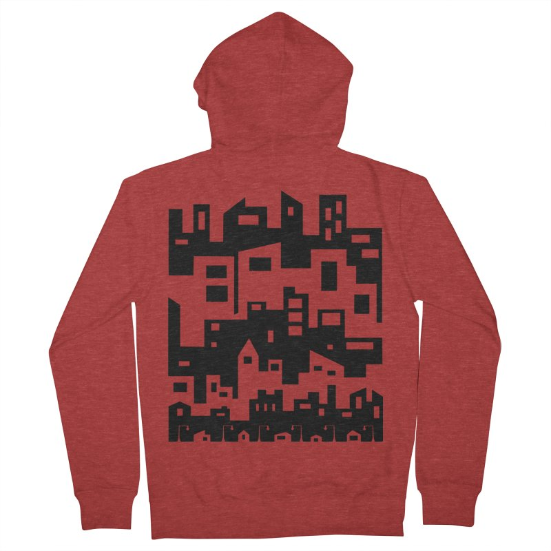 Stacked Cityscape Women's French Terry Zip-Up Hoody by LadyBaigStudio's Artist Shop