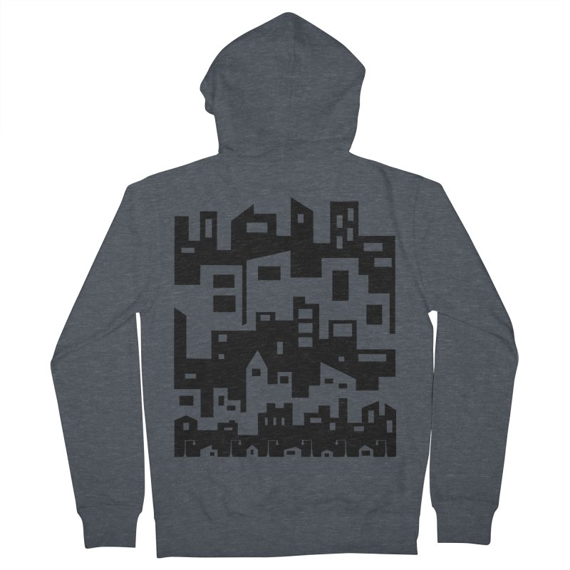 Stacked Cityscape Men's French Terry Zip-Up Hoody by LadyBaigStudio's Artist Shop