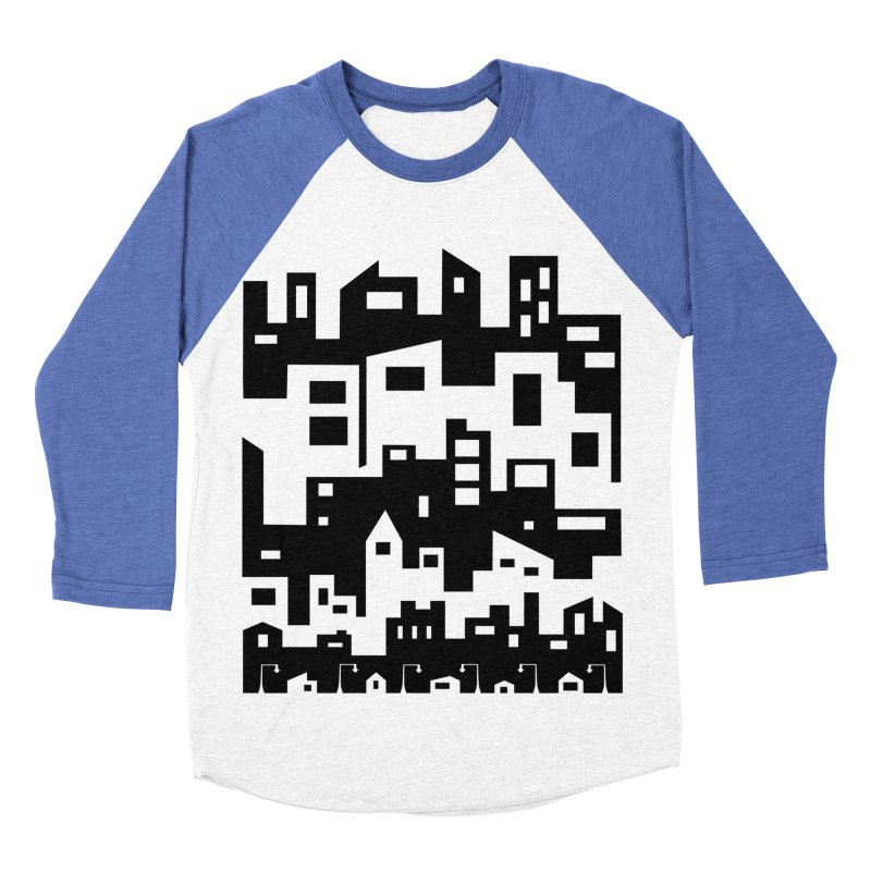 Stacked Cityscape Men's Baseball Triblend Longsleeve T-Shirt by LadyBaigStudio's Artist Shop