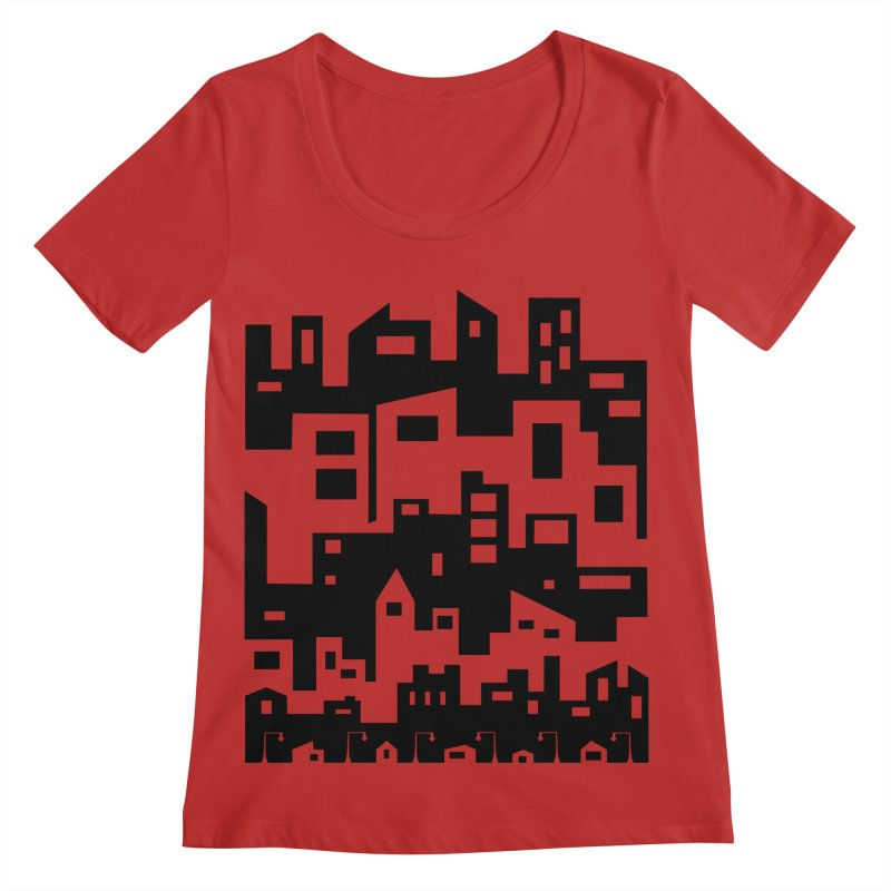 Stacked Cityscape Women's Regular Scoop Neck by LadyBaigStudio's Artist Shop