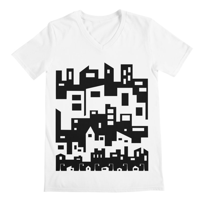Stacked Cityscape Men's V-Neck by LadyBaigStudio's Artist Shop