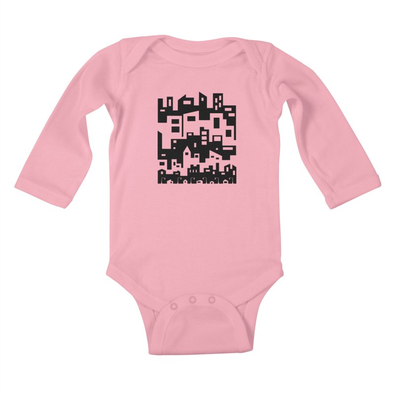 Stacked Cityscape Kids Baby Longsleeve Bodysuit by LadyBaigStudio's Artist Shop