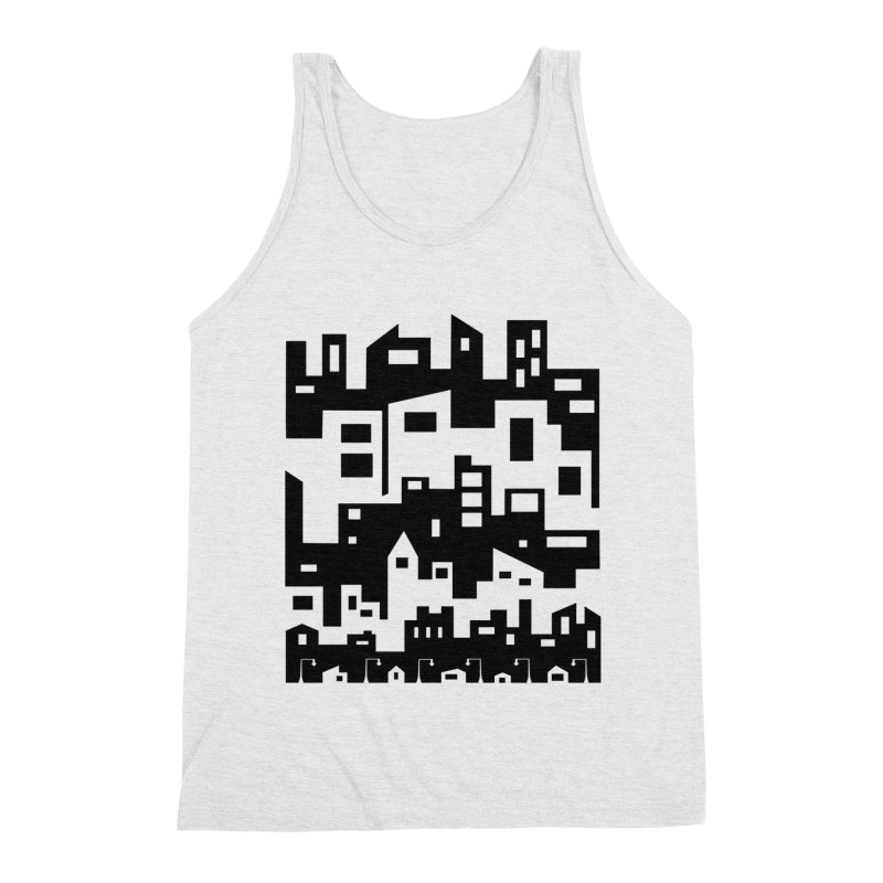 Stacked Cityscape Men's Triblend Tank by LadyBaigStudio's Artist Shop