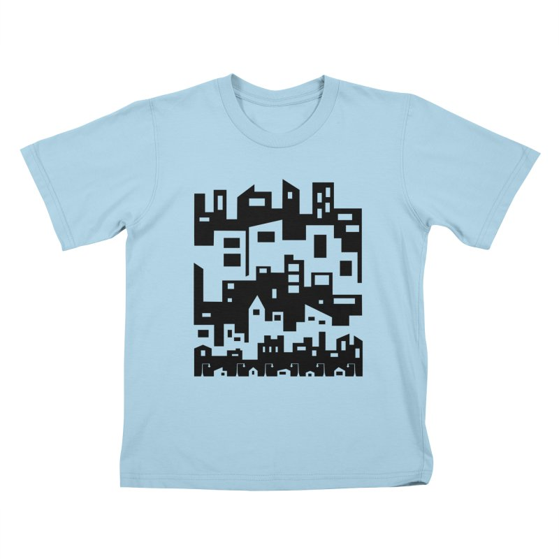 Stacked Cityscape Kids T-Shirt by LadyBaigStudio's Artist Shop