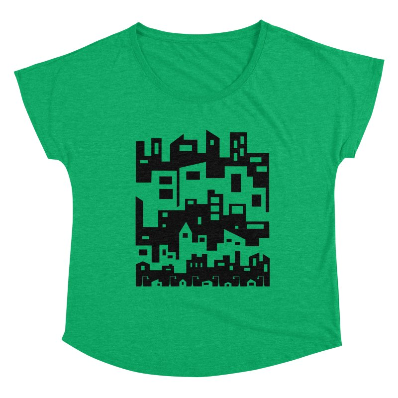 Stacked Cityscape Women's Scoop Neck by LadyBaigStudio's Artist Shop