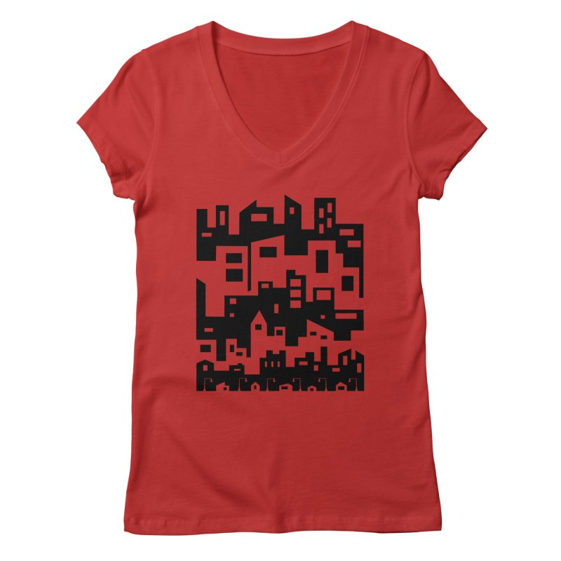 Stacked Cityscape Women's V-Neck by LadyBaigStudio's Artist Shop