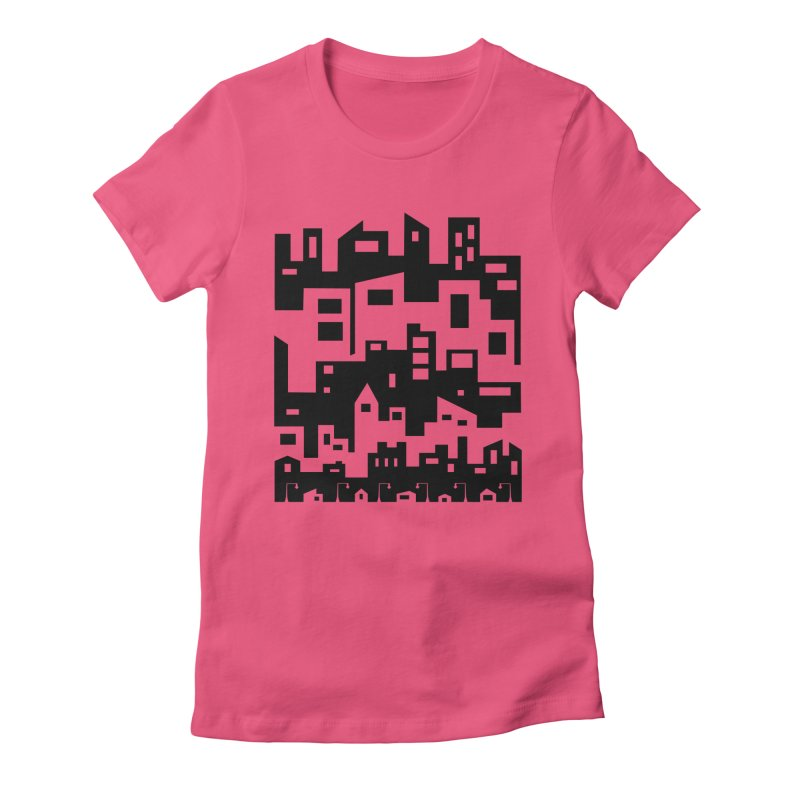 Stacked Cityscape Women's Fitted T-Shirt by LadyBaigStudio's Artist Shop