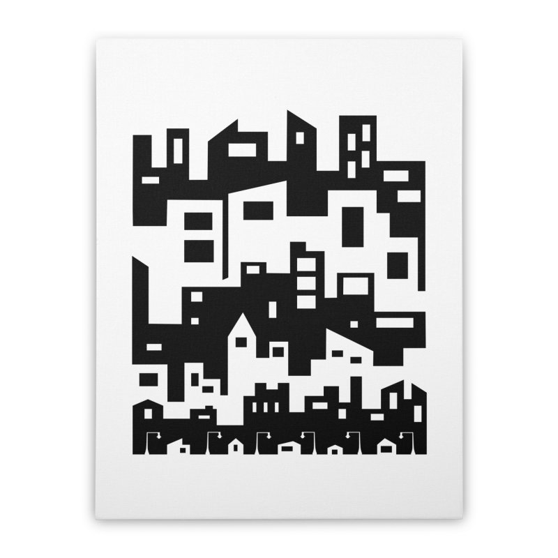 Stacked Cityscape Home Stretched Canvas by LadyBaigStudio's Artist Shop