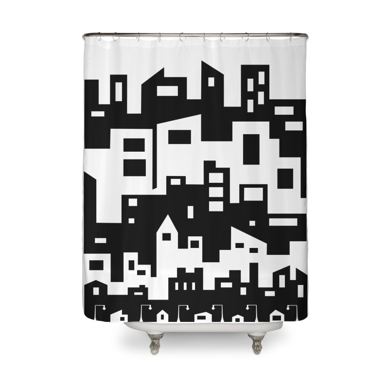 Stacked Cityscape Home Shower Curtain by LadyBaigStudio's Artist Shop