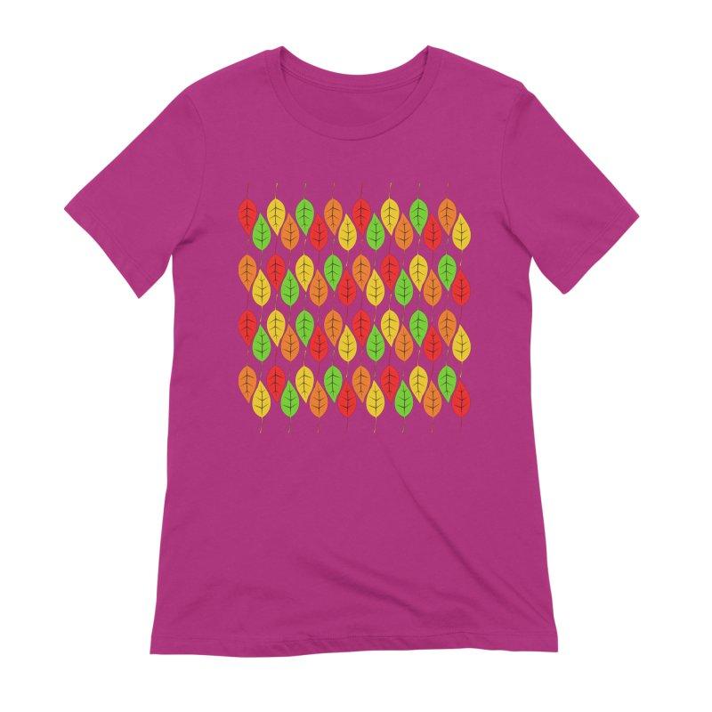Cascading Autumn Leaves Women's Extra Soft T-Shirt by LadyBaigStudio's Artist Shop