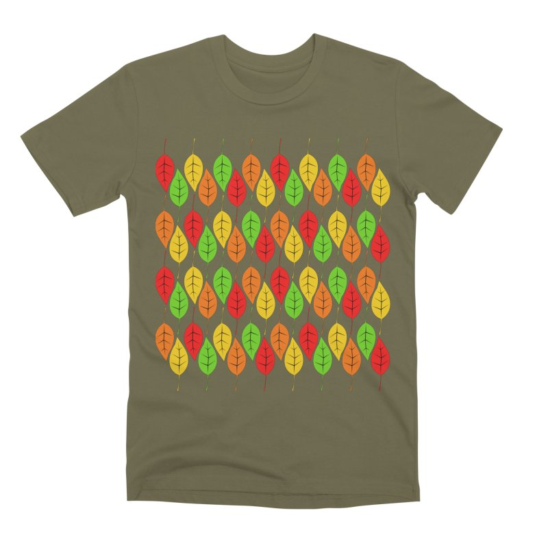 Cascading Autumn Leaves Men's Premium T-Shirt by LadyBaigStudio's Artist Shop