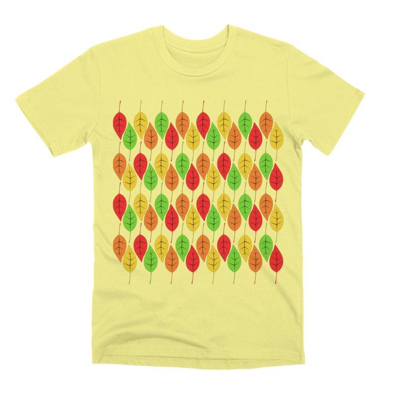 Cascading Autumn Leaves Men's Premium T-Shirt by LadyBaigStudio's Artist Shop