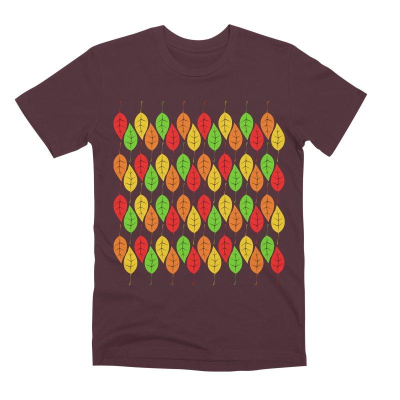 Cascading Autumn Leaves Men's T-Shirt by LadyBaigStudio's Artist Shop