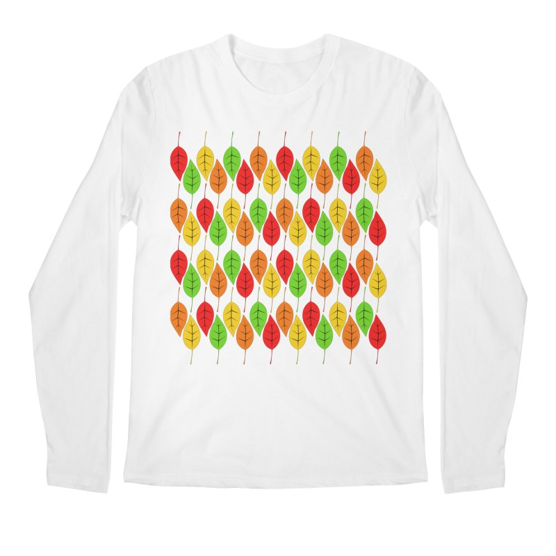 Cascading Autumn Leaves Men's Longsleeve T-Shirt by LadyBaigStudio's Artist Shop