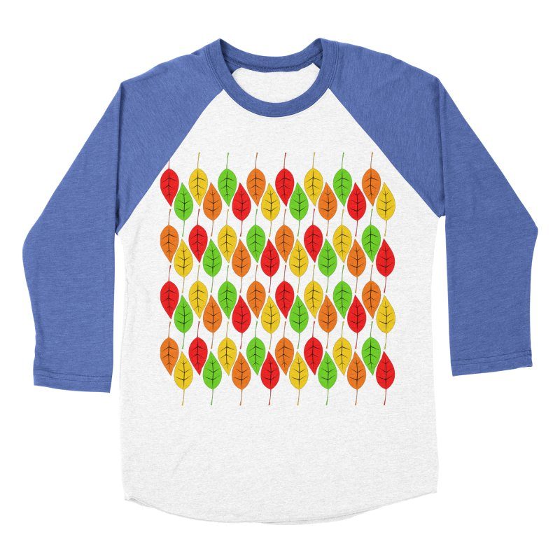Cascading Autumn Leaves Men's Baseball Triblend Longsleeve T-Shirt by LadyBaigStudio's Artist Shop