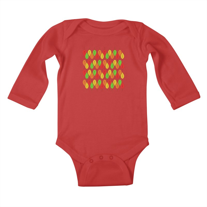 Cascading Autumn Leaves Kids Baby Longsleeve Bodysuit by LadyBaigStudio's Artist Shop