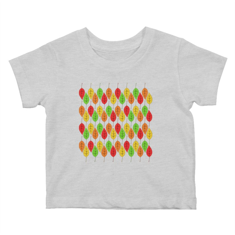 Cascading Autumn Leaves Kids Baby T-Shirt by LadyBaigStudio's Artist Shop