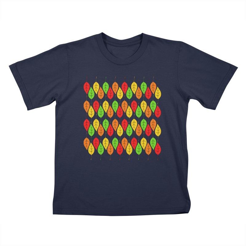 Cascading Autumn Leaves Kids T-Shirt by LadyBaigStudio's Artist Shop