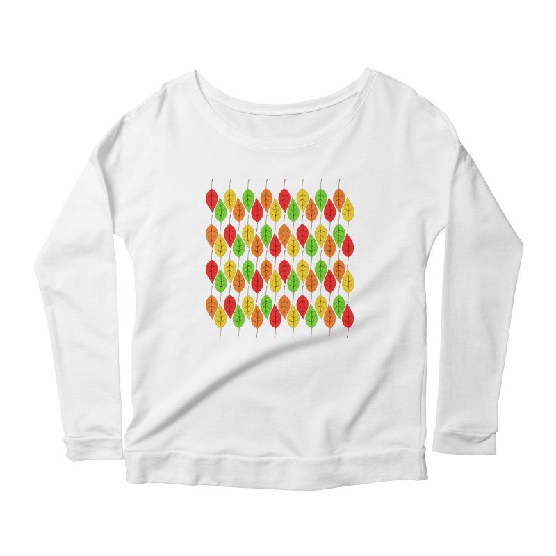 Cascading Autumn Leaves Women's Scoop Neck Longsleeve T-Shirt by LadyBaigStudio's Artist Shop