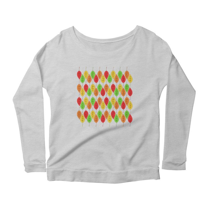 Cascading Autumn Leaves Women's Scoop Neck Longsleeve T-Shirt by LadyBaigStudio's Artist Shop