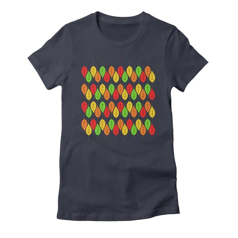 Cascading Autumn Leaves Women's T-Shirt by LadyBaigStudio's Artist Shop