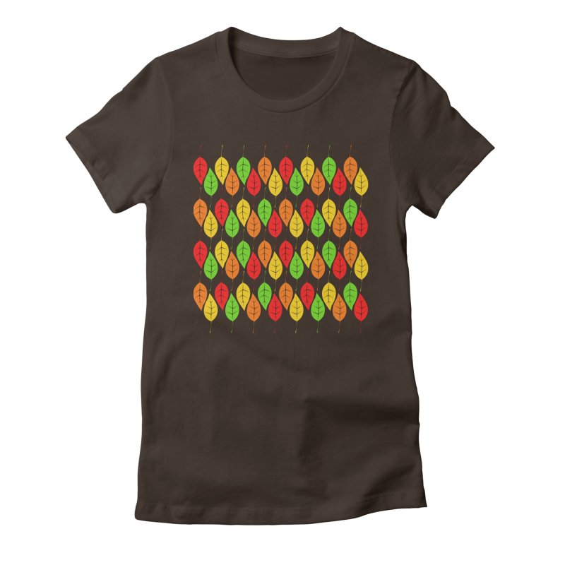 Cascading Autumn Leaves Women's Fitted T-Shirt by LadyBaigStudio's Artist Shop