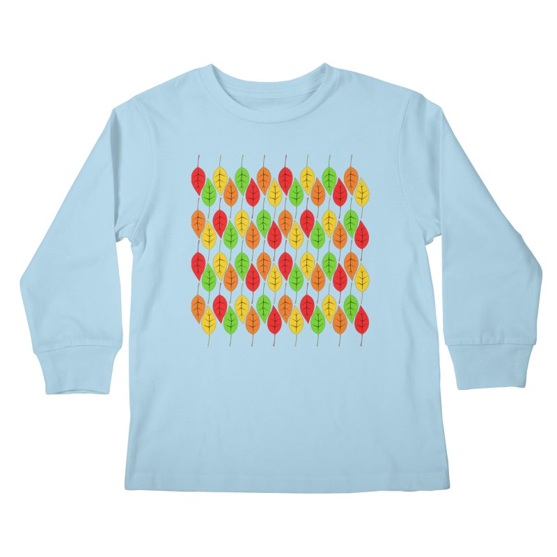 Cascading Autumn Leaves Kids Longsleeve T-Shirt by LadyBaigStudio's Artist Shop