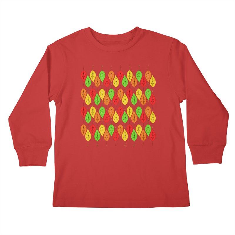 Cascading Autumn Leaves Kids Longsleeve T-Shirt by LadyBaigStudio's Artist Shop