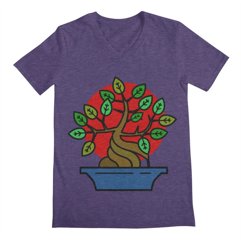 Bonsai Tree Men's Regular V-Neck by LadyBaigStudio's Artist Shop