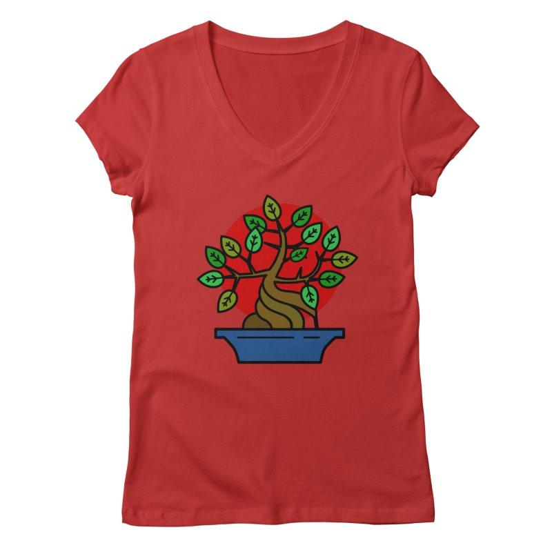Bonsai Tree Women's V-Neck by LadyBaigStudio's Artist Shop