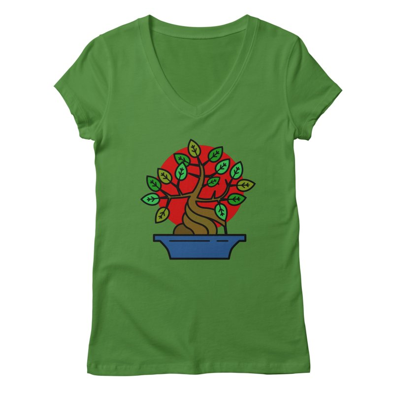 Bonsai Tree Women's V-Neck by LadyBaigStudio's Artist Shop