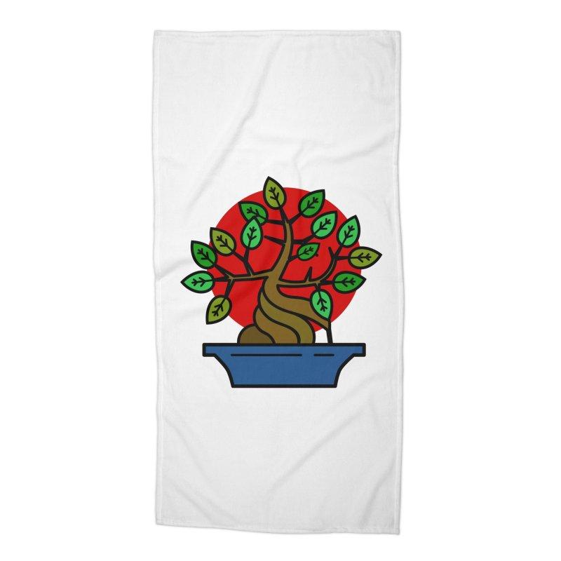Bonsai Tree Accessories Beach Towel by LadyBaigStudio's Artist Shop