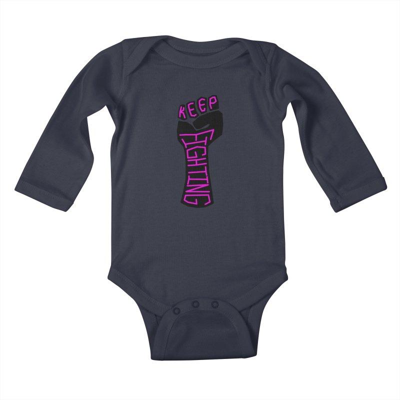 Keep Fighting Kids Baby Longsleeve Bodysuit by LadyBaigStudio's Artist Shop