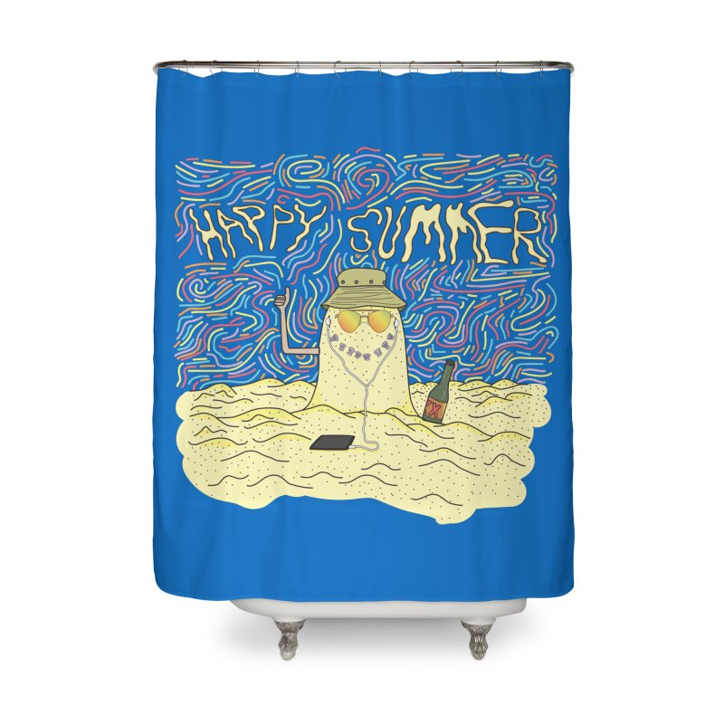Happy Summer Home Shower Curtain by Lanky Lad Apparel