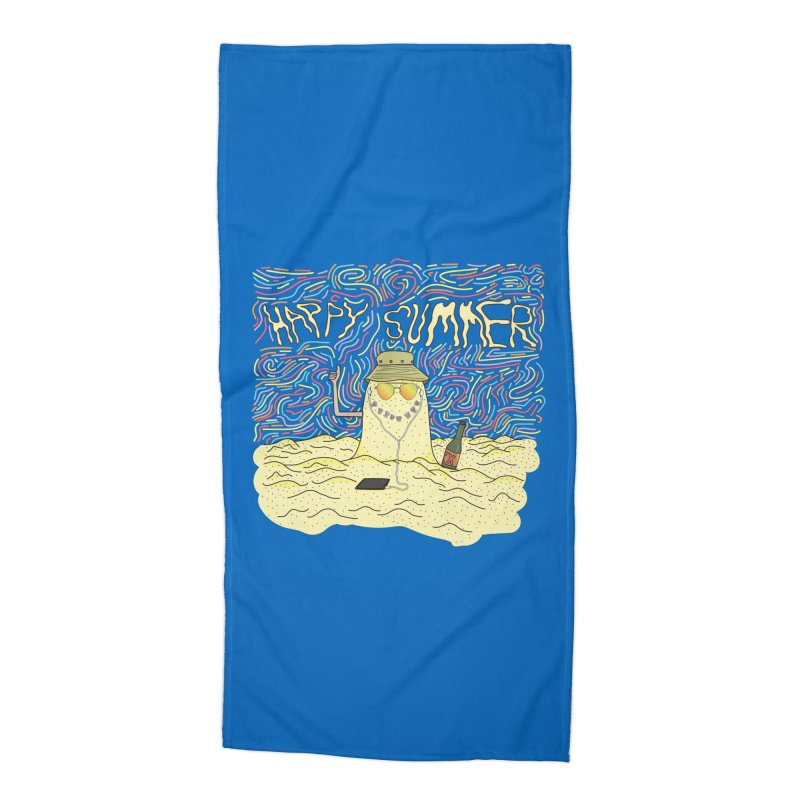 Happy Summer Accessories Beach Towel by Lanky Lad Apparel
